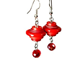 Red Button Earrings,  Red Dangle Earrings, Repurposed Recycled Upcycled Jewelry,  Button Jewelry