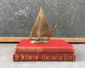 Vintage Brass Sailboat, paperweight, nautical decor, beach decor, boat