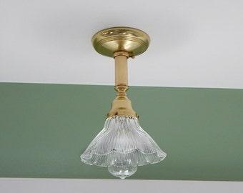 Vintage Brass Holophane Ceiling Light Fixture