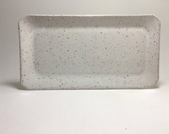 Handmade White Speckle Sushi Plates - Stoneware Sushi Plates - Sushi Plates - Tapas Plate - Rectangular Plate - White Plate -  Spoon Rest