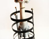 Retro Poodle Jewelry Stand ~ Vintage Earring Holder ~ Ceramic Poodle ~ Vintage Poodle and Jewelry Storage Cage
