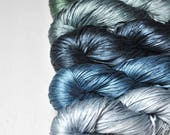 Hypertrophic lake - Gradient of Silk Tape Lace Yarn