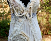 Reserved for Rosita ,Blouse, , tatter punk, shabby chic , cream, lace, Jane Austen, size small, women