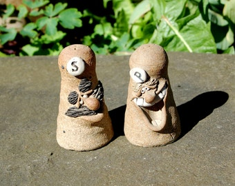 Classic 1970's Vintage Art Pottery Ugly Face / Funny Face Hand Crafted Stoneware Salt and Pepper Shakers ~ Excellent Condition