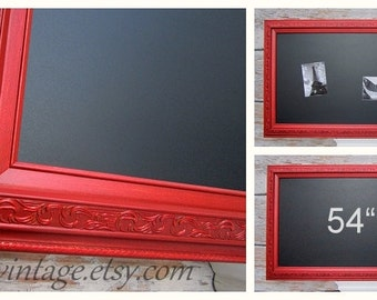 "LARGE CHALKBOARDS For KITCHEN Magnetic 54""x30"" Red Kitchen Decor Tuscan Red Kitchen Home Office Furniture Unique Interior Signage"