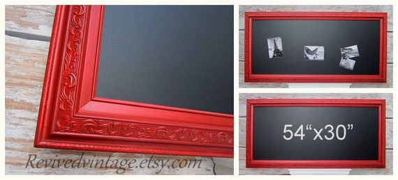 """LARGE CHALKBOARDS For KITCHEN Magnetic 54""""x30"""" Red Kitchen Decor Tuscan Red Kitchen Home Office Furniture Unique Interior Signage"""