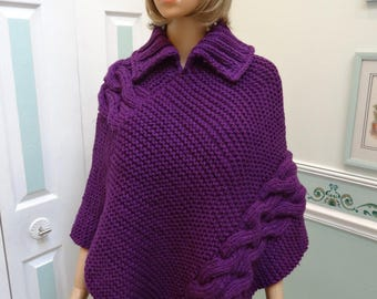 PONCHO,DK ORCHID,bulky knit weight ,hand knitted  ,size small to medium,double cable stitch,turtle neck collar, acrylic yarn