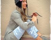 GRAY and BLACK Aviator Hat Flower Beanie EARFLAP hat Boho Pom Pom hat Chunky Knit Crochet Pilot Beanie Urban hat womens fashion Girl GPyoga