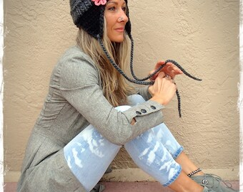 GRAY and BLACK Aviator Hat Flower Beanie EARFLAP hat Boho Pom Pom hat Chunky Knit Crochet Pilot Beanie Urban hat womens fashion Girl GPyoga