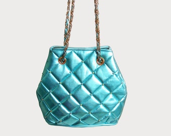 Vintage 90s QUILTED Metallic Blue Studded PURSE / 1990s Chain Strap Bag