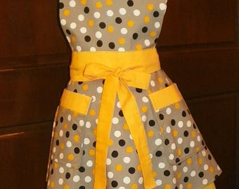 Colorful Retro Style Double Skirt Apron Yellow Black White Polka Dots Handmade for Kitchen Cooking Cleaning Craft Activities
