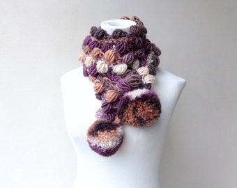 Purple Scarf Pompom Scarf Mauve Crochet Earthy colours Scarf Long Multicolor Unique Scarf colorful Winter Scarf