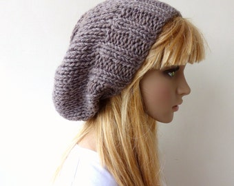 Brown Beanie Brown Knit Hat Slouchy Mens Chunky Knit hat Womens