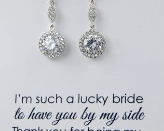 Crystal Bridal Earrings, Wedding Bridal Earrings,Bridesmaid Earrings Bridal Accessories Dangle Drop Earrings for Bride