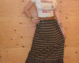 Vintage 70's Gunne Sax Style Maxi Skirt Black Yellow & Pink Calico Floral Print SZ S/M