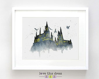 SALE 8x10 Hogwarts Print - Hogwarts Poster - Hogwarts Gift - Harry Potter Decor - Harry Potter Gift - J K Rowling - Harry Potter Art