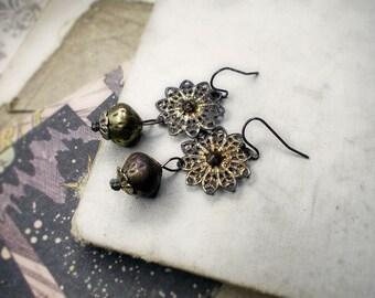 Rustic Beaded Earrings -  Beaded Assemblage Earrings - Tarnished Filigree - Boho Metal Beads & Caps - All Metal Earrings - Rustic Glam