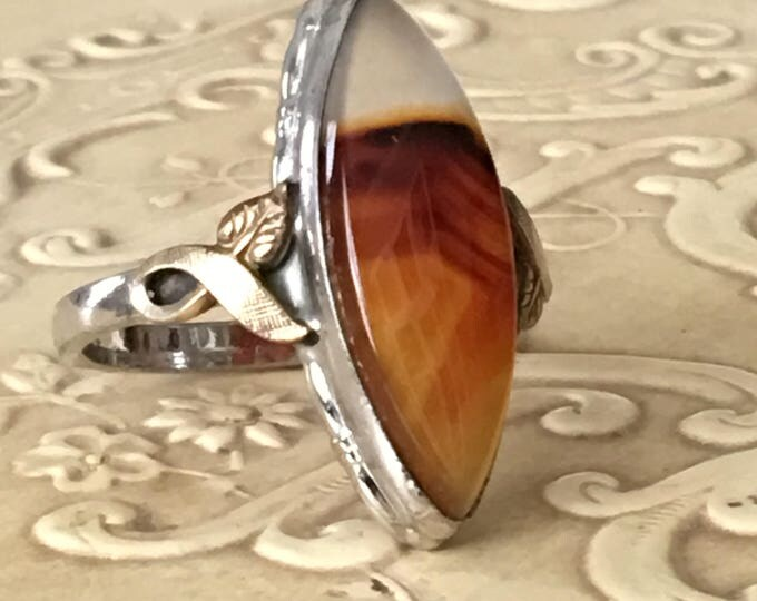 Banded Agate Sterling Silver & 10KGF Ring Navette Shaped