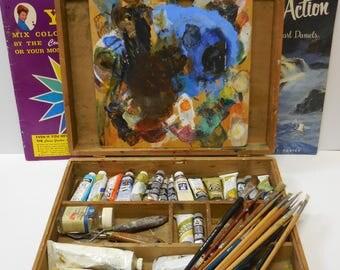 Vintage Artist Case w/ Palette Paints brushes two art books carrying box Art supplies