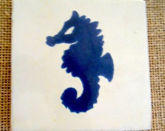Set of 2 Vintage Handmade Blue Sea Horse Nautical Accent Ivory Tiles Set of Two