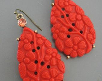 Statement Earrings - Coral Red Earrings - Vintage Inspired - Rhinestone Flower Earrings - Antiqued Gold Earrings - Boho Earrings -Handmade