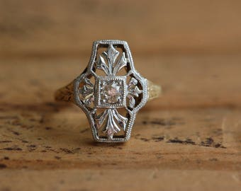 Antique Art Deco filigree and old mine cut diamond 10K two-tone ring