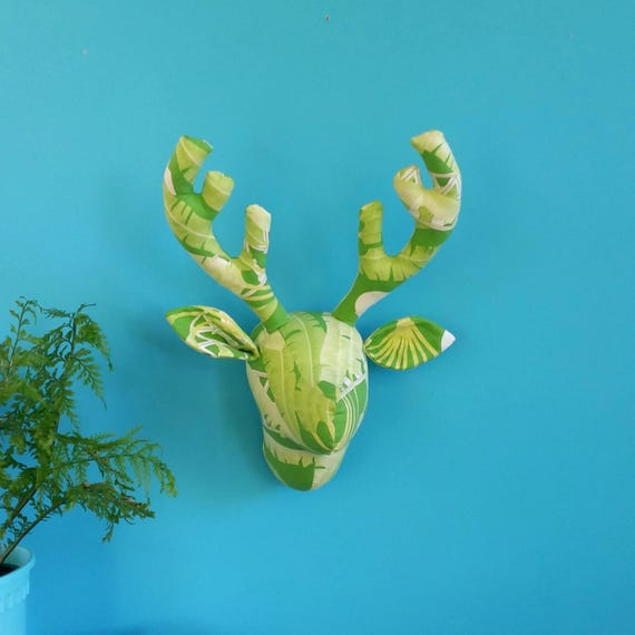 Recycled fabric Deer head. Retro banana palm pattern. Faux taxidermy. Stag trophy head. Vintage green curtain. Upcycled decor. Greenery.