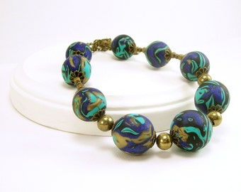Polymer Clay Jewelry, Beaded Necklace with Free Earrings, Blue and Turquoise