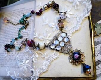 One Night in Paris,Vintage Black Guilloche Enamel Rose,Moonstone Vintage,Italian Wedding Bead,Rhinestone Assemblage,Hollywood Hillbilly