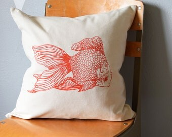 Throw Pillow - Throw Pillow Covers - Screen Printed Pillows - Pillow Case - Home Decor - Kids Room - Decorative Pillows - Nursery - Goldfish