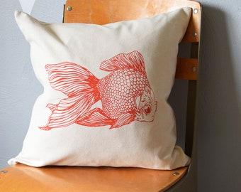 Throw Pillow - Throw Pillow Covers - Screen Printed Pillows - Pillow Case - Home Decor - Kids Room - Decorative Pillows - Nursery - Goldfish