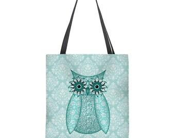 Owl Tote Bag in turquoise, aqua