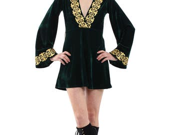 Gold Dust Velvet Lace Bell Sleeve Mini Dress - More Colours Available