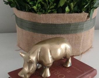 Vintage Brass Rhino