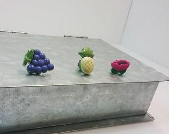 Fruity Summer Pins - Pineapple, Grape, Blossom pins