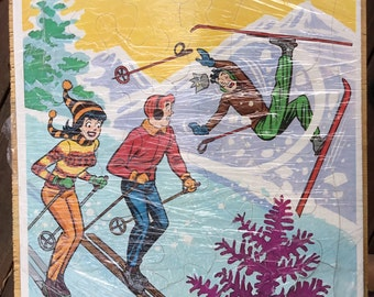 Complete Vintage 1971 Archie Frame Tray Puzzle - Archies - Skiing - Vintage Ski - Whitman - Comic