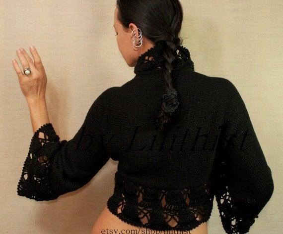 Black Shrug, Crochet Bolero Jacket, Knit Cardigan, Sweater Shrug, Black Bridal Shrug Bolero, Three Quarter Sleeve Bolero, Evening Wear, SALE