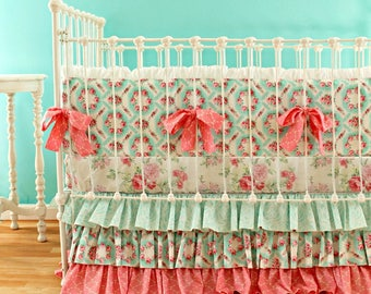 Pink and Aqua Crib Bedding Set - Baby Girl Bedding with Bumper, Sheet, and Skirt for a Vintage Inspired, Shabby Chic, Custom Nursery