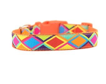 Orange Diamond Dog Collar, Diamond Collar, Geometric Dog Collar, Designer Dog Collar, Stylish Dog Collar
