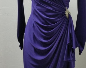 Vintage Susan Roselli for Vijack 80s's does 20s Slinky Purple Wrap Dress with Beaded Accent, Size Small, #62421
