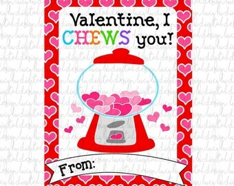 VALENTINES - GUMBALL Cards - PRINTABLE Valentine Cards
