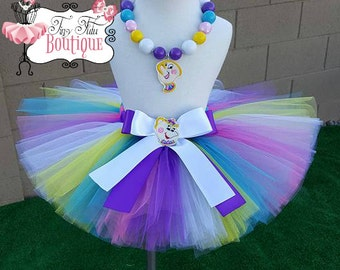 MRS POTTS inspired- Pink, Purple, Blue, Yellow, and White baby/child Tutu with hairbow:  Newborn-5T