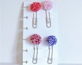 Handmade Set of 4 Valentine Theme Pom-pom Planner Clips - Red, Pink, White and Purple Paper Clips - Snap-in Planner Clip Dashboard