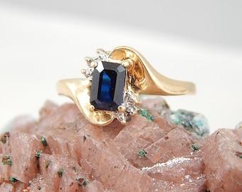 Blue Sapphire Diamond Ring 10k Yellow Gold