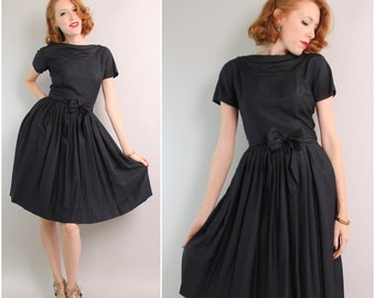 1950's Navy Fit and Flare Dress / 50's Silk Dress / Small