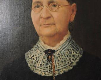 Antique VICTORIAN Oil Portrait Older WOMAN GRANNY Spectacles Painting c1870-80s