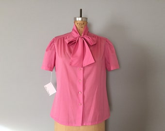 SALE...putty pink bow top | 70s crop top