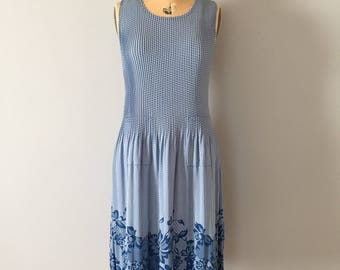 1920s inspired dress | pleated drop waist dress | periwinkle blue floral dress