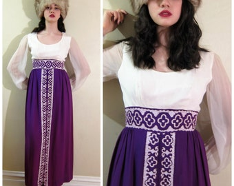 Vintage 1970s Maxi Dress in Purple and Ivory / 70s Beaded Dress with Sheer Sleeves and Empire Waist / Small