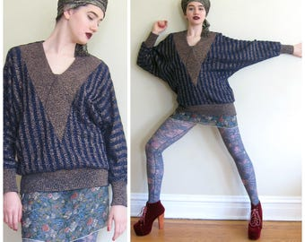 Vintage 1980s Oversized V Neck Sweater Dolman Sleeves / 80s Power Shoulders Top in Dark Blue and Metallic Gold / XL